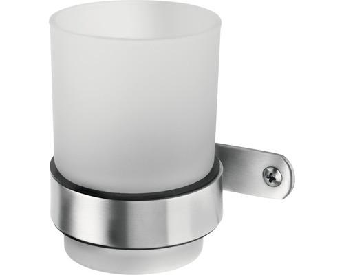 Haceka IXI gebürsteter Glashalter+ Glas Edelstahl